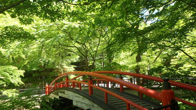 画像: 河鹿橋 「黄金の湯」の源泉地そばにある朱塗りの太鼓橋。