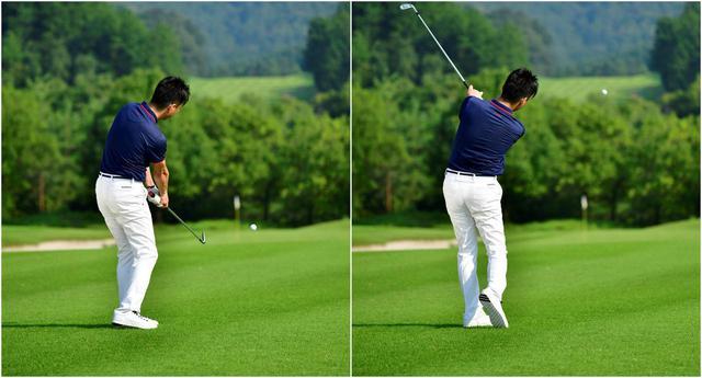 画像: 体とクラブが引っ張り合うから、軽く振ってもボールが上がって飛びます