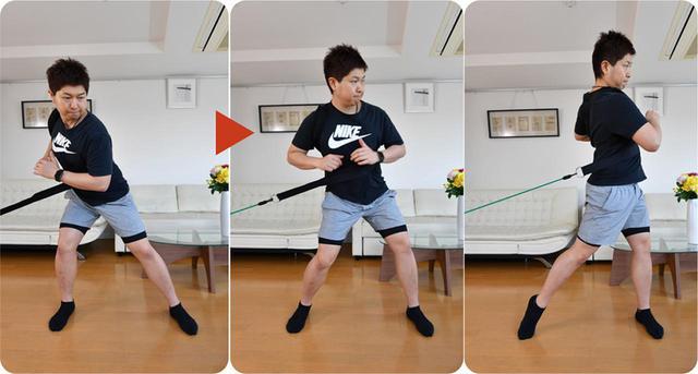 画像: チューブ&ベルトを使った、体の回転力を鍛えるトレーニング
