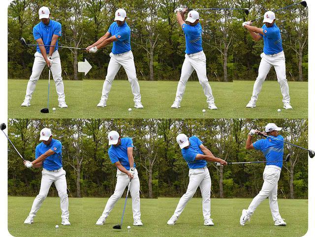 画像: ダウンスウィングは上から下にタテの動きで、インパクトではシャロ―なヘッド軌道で通過し、そのままヘッドは加速する