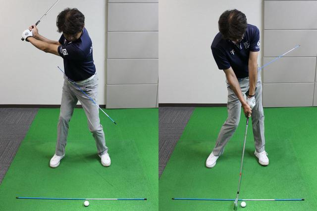 画像: ベルト通しにスティックを通すのも、体の回転でスウィングするタイプのゴルファーには効果的