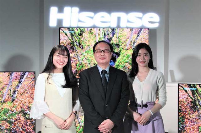 画像: インタビューを終えて記念撮影。左から田村、ハイセンスジャパン 営業部部長 岩内順也氏、大野