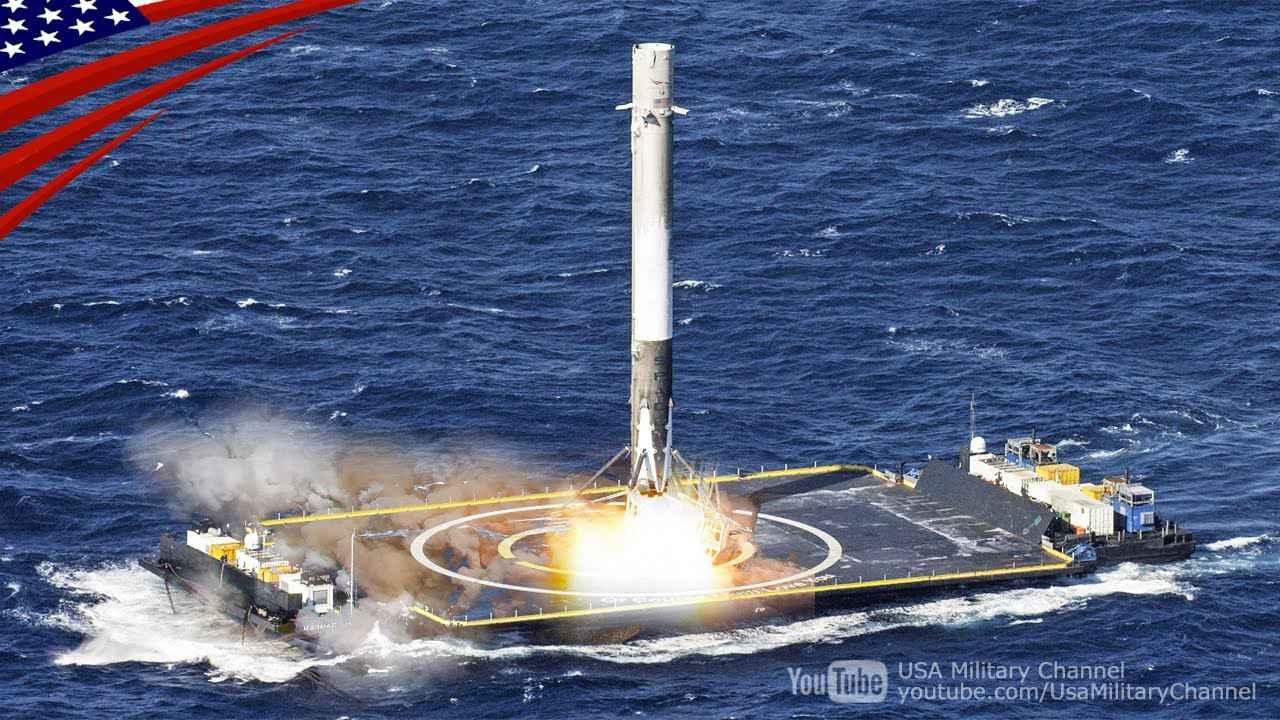画像: ファルコン9(再利用ロケット)の打ち上げと無人船への垂直着陸 youtu.be