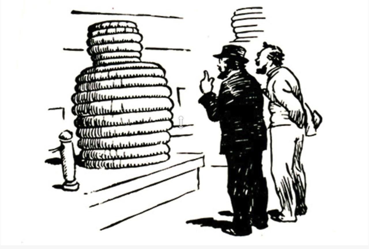 画像: 積み重ねられたタイヤの山を見て「タイヤ人間」を想像するミシュラン兄弟。 (C)Michelin