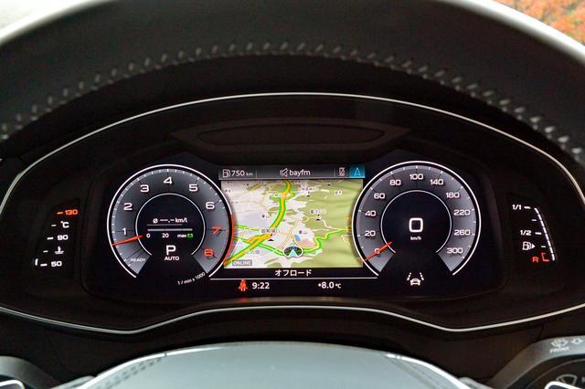 画像: メーターは12.3インチの全面液晶モニター。中央部はナビ画面以外にもさまざまな情報を表示する。