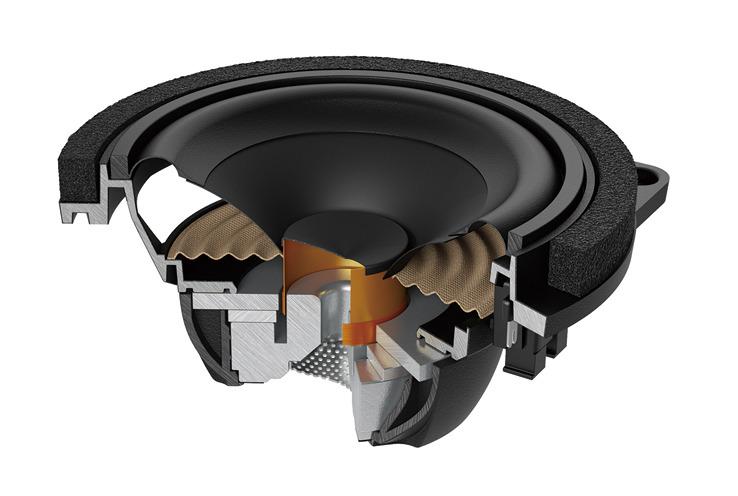 画像: APBMW K4E/K4Mのウーファーユニットは、空力を考慮したアルミダイキャストバスケットフレームを採用。