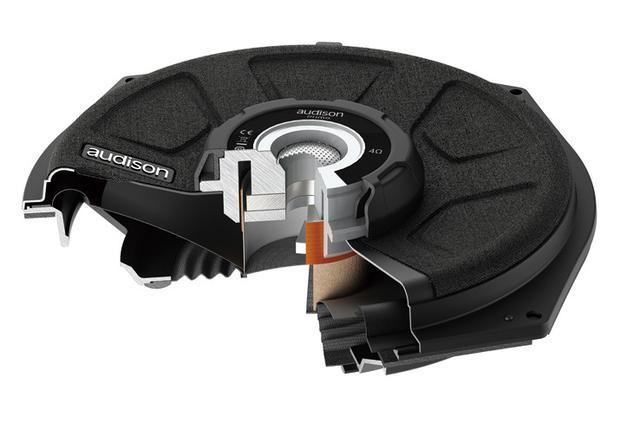 画像: 振動板の前面に磁気回路を配置したフロント・マグネット構造の薄型設計。