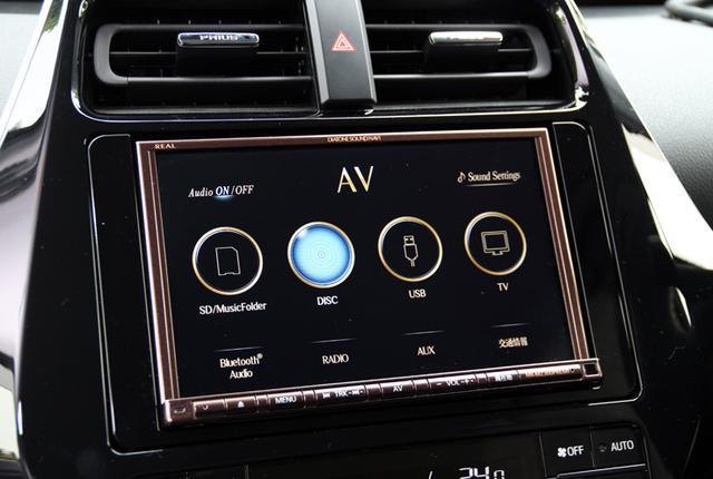 画像: AVナビはダイヤトーンサウンドナビの8インチ画面モデルNR-MZ300PREMIを搭載。内蔵アンプのみ使用して、プリウスの純正スピーカーをドライブしている。