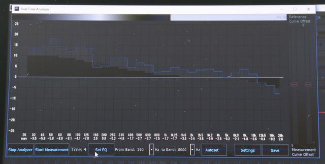 画像: MTK-1で測定してみた結果。ブルーのラインが、測定された周波数特性だ。これを見ると50Hz付近と160Hz付近、5kHzあたりの暴れが気になる。