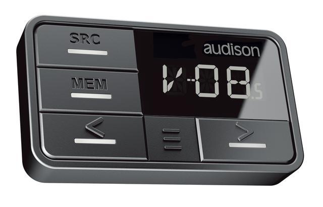 画像: 同ブランドのbitシリーズで使用可能なコントローラー「DRC AB」。ソース切り替え、ボリュウム調整、プリセットメモリー切り替えといった操作ができる。AP F8.9bitDRCでは本体に同梱される。別売設定もされているが単体での販売価格は¥12,000(税別)。
