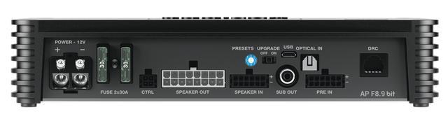 画像: APF8.9bitの接続は、すべてこの端子面に集中配置される。信号の入出力は、チャンネル数が多いもののカプラー接続とすることで効率よくコンパクト化されている。