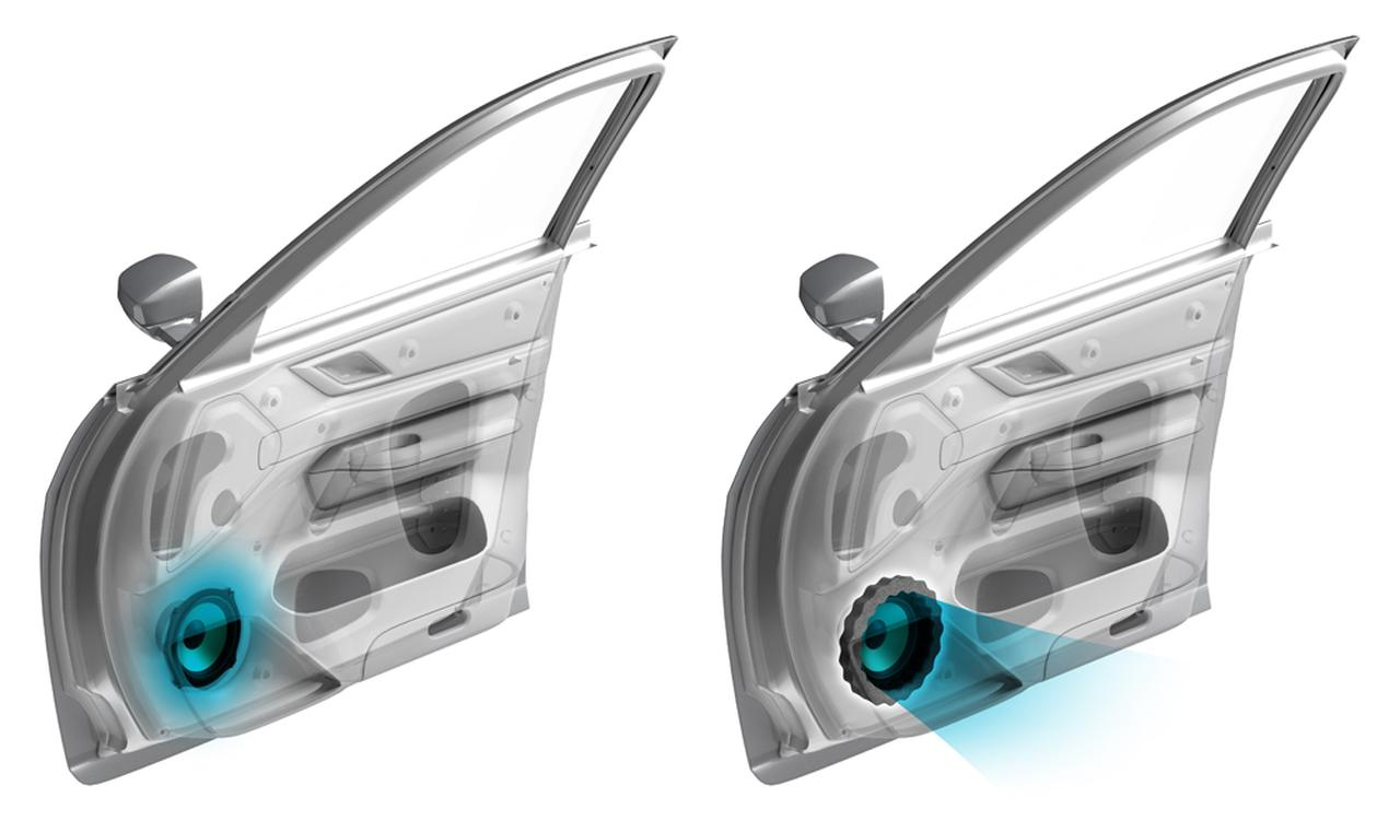 画像: ATH-AQ442の施工例。スピーカー振動板から出た音がスムーズに放射される効果が期待できそうだ。