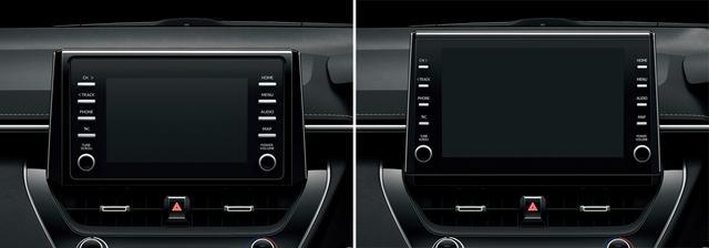 画像: 全車標準装備の7インチディスプレイオーディオ(左)と9インチディスプレイオーディオ(右)。