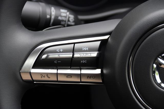 画像: ステアリングコラム内にあるスイッチでは、ソース切り替えや音量調節、トラック送りができるほか、ハンズフリー通話のためのスイッチなどが並ぶ。