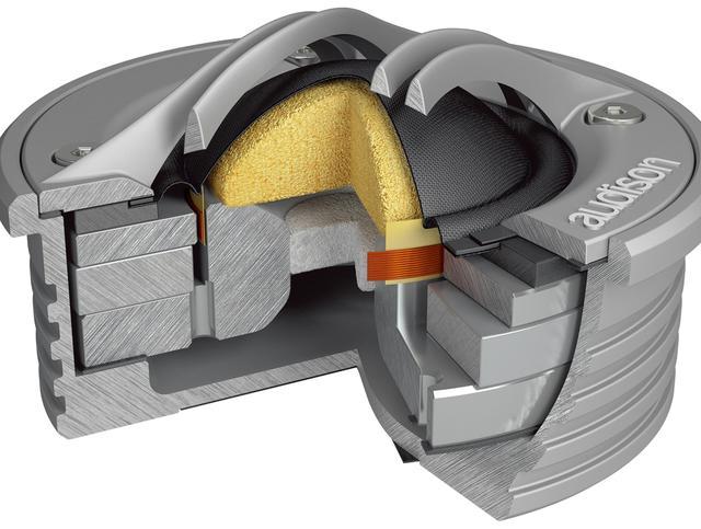 画像: メタルハウジングの中には、リング型マグネットを使った外磁型スピーカーが収められている。