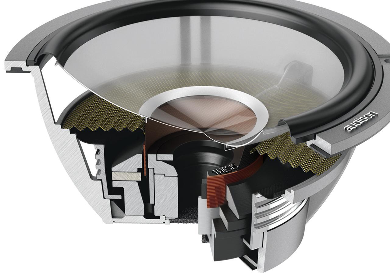 画像: 複雑な構造を持つ磁気回路は、強力なマグネットの磁力を効率よくボイスコイルギャップに集約させるため、ヨーク形状やショートリングの採用など、精密に設計されたという。