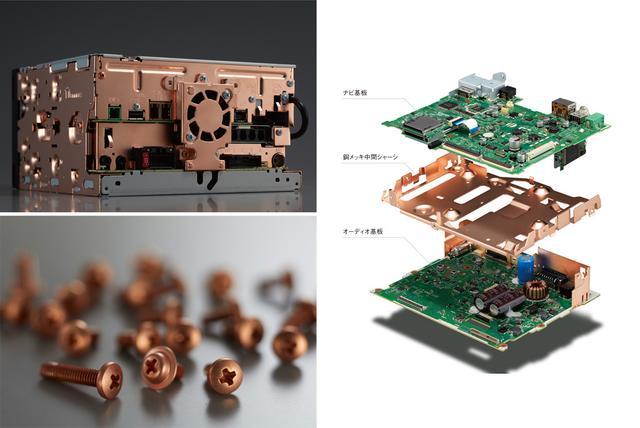 画像: 背面と側面を銅メッキのシャーシとするほか、ヒートシンクブロックを兼ねた空冷ファン固定部にも銅メッキを施している(左上)。シー氏や基板を固定しているビスも、必要な箇所については銅メッキ部品を使用(左下)。ナビ基板とオーディオ基板の間には銅メッキ処理した中間シャーシを挿入している(右)。