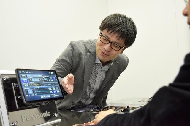 画像: サウンドチューン機能について説明する田食氏。吟味したデバイス選別や回路パターンの見直しをすることで、これまでと同様の機能がひときわ効果的に働くようになったようだ。