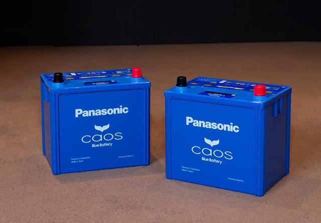 画像: 試聴した最新のパナソニックcaosバッテリー。今回用意したのは標準車(充電制御車)用N-100D23L/C7(左)とアイドリングストップ車用N-Q100/A3(右)。