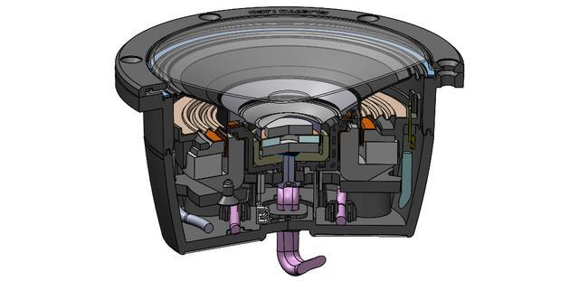 画像: CSTドライバーの構造図。ユニットを支えるフレームにはアルミダイキャストを採用している。中央のトゥイーター部と外周のミッドレンジ部は、磁気的および機械的な相互干渉によるひずみを防ぐアイソレーションキャップが採用されているが、この技術はTADと同様のテクノロジーである。トゥイーター部の磁気回路には、狭スペースで効率よく磁束を高めるための反発ネオジウムマグネットを組み込んでいる。