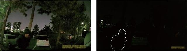 画像: ナイトサイト有無の比較画像。左のナイトサイトで撮影した映像に対し、右のナイトサイトがない映像ではほぼ黒つぶれして何が写っているかわからなくなっている。