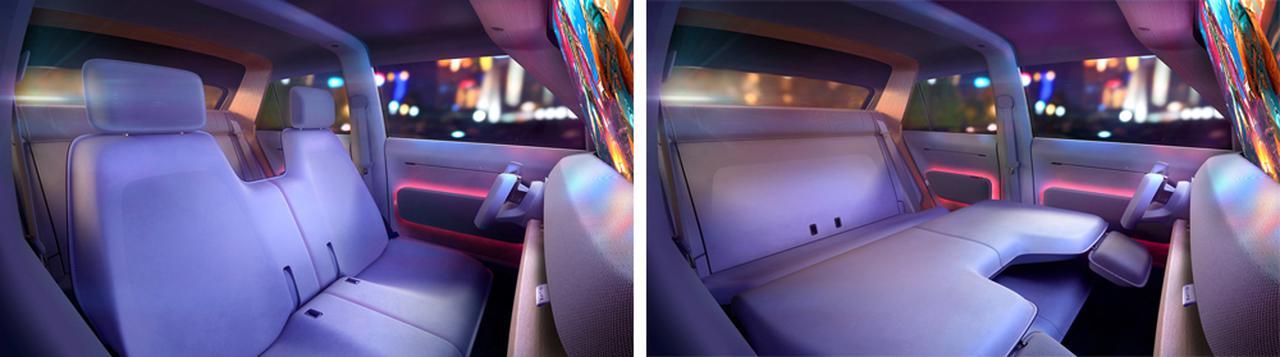 画像: シートアレンジはフロントシートをたたんだ「シネマシート」のほかにも約2メートル長のベッドとしたり、積載量を最大化できる「カーゴバージョン」など多彩。
