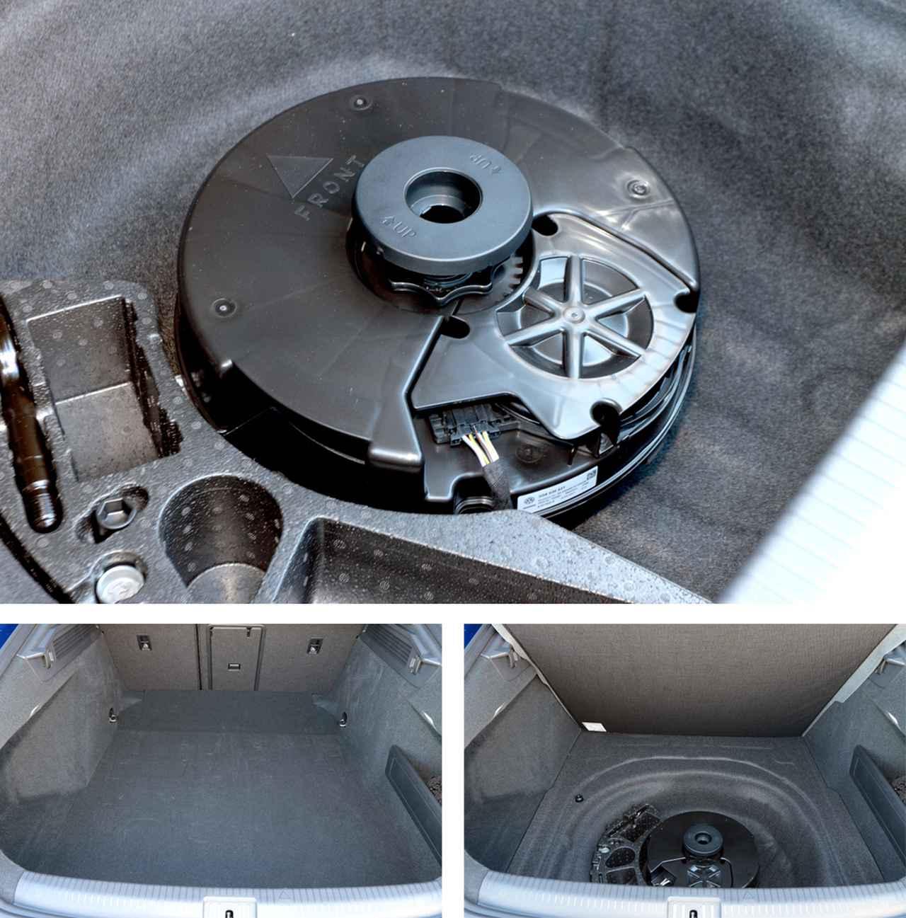 画像: テールゲートを開けると、広大なラゲッジが出現。そのフロア部、スペアタイヤ搭載スペースに搭載できるサブウーファーユニットが納められる。バンドパスタイプと思われるエンクロージュアには、160mm口径のユニットが採用されている。ポートの向きを正しくセッティングするため、天面には「▲FRONT」と固定方向を示すマーカーが表示されている。