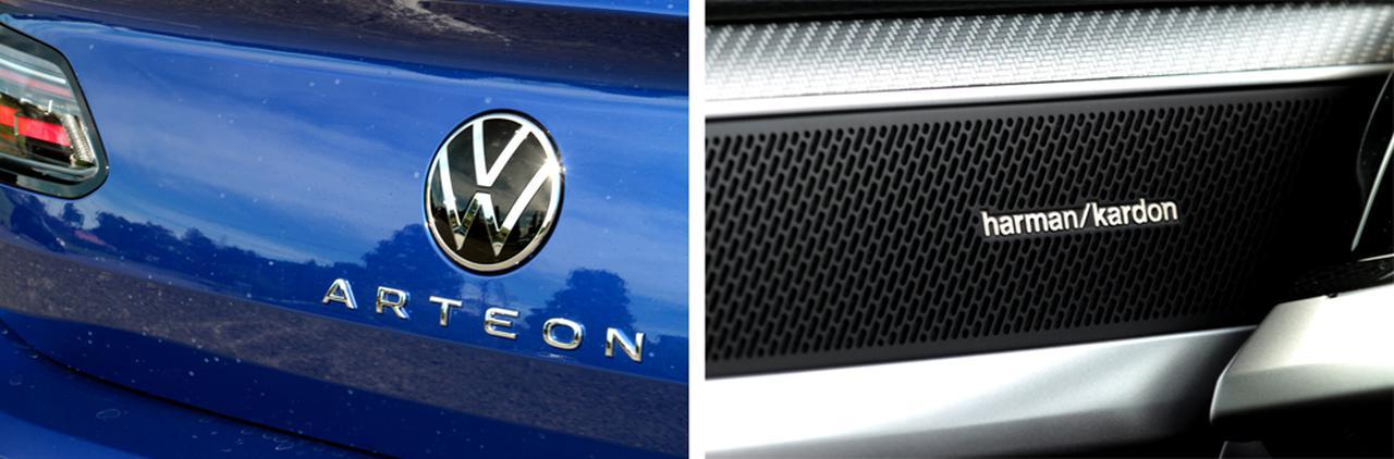 画像: VWのエンブレムデザインも進化したフォルクスワーゲン、新時代に合わせてだろうかハーマンカードンのシステムを2021年のモデルから採用している。harman/kardonのロゴバッジは、ドアのトゥイーターグリルに飾られている。