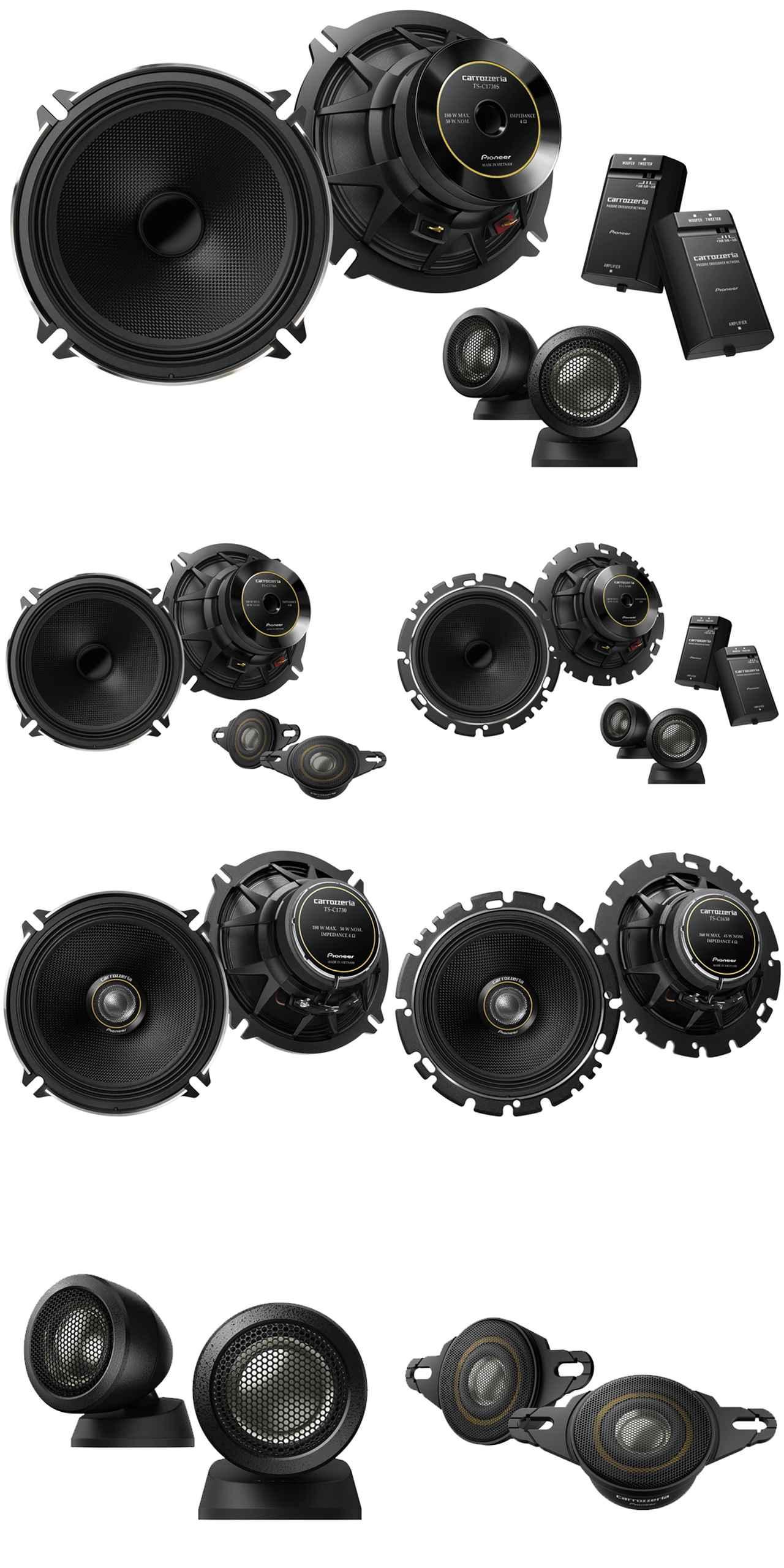 画像: 一番上がTS-C1703S II、2段目左TS-C1736S II、同右TS-C1630S II、3壇目左TS-C1730II、同右TS-C1630II、一番下左ふぁTS-T730II、同右TS-T736II。