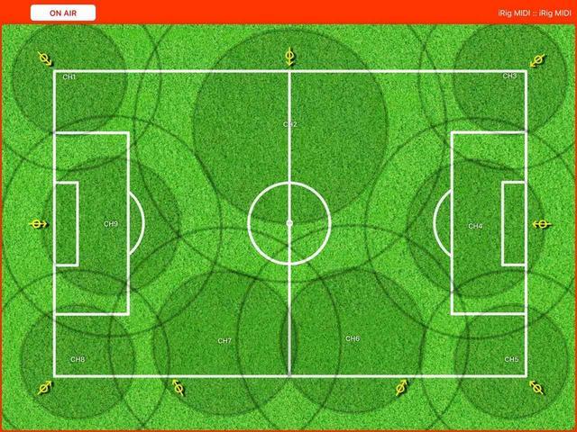 """画像: 画面には好みの画像を表示させることができ、例えばサッカー中継の場合は、写真のように競技場の画像を表示させて使用する。そして現場に設置したマイクの収音エリアに""""コントローラー""""(操作子)を作成すれば、コンソールのフェーダー操作を指先で行うことが可能になる"""