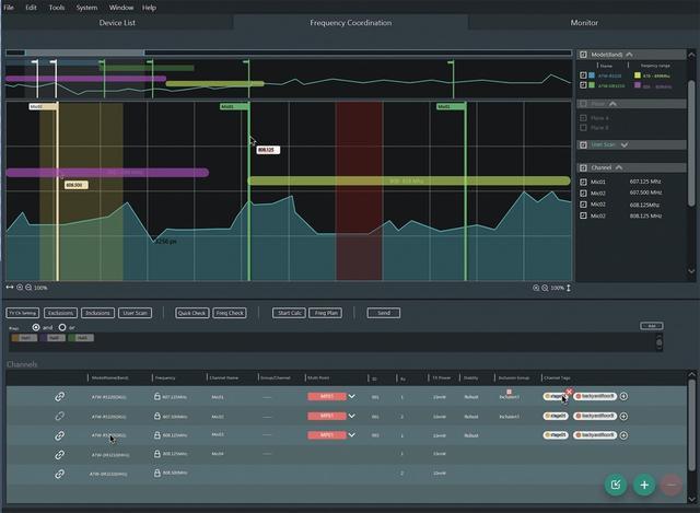 画像: 「3000 Digital」シリーズと「5000」シリーズに対応した「ワイヤレス・マネージャー」。周波数情報や条件を設定することで使用可能な周波数などを算出。プランニング時に、オペレーターの負担を格段に軽減できるアプリケーションだ