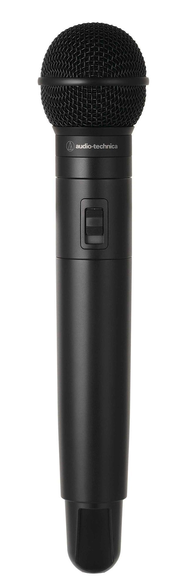 画像: ハンドヘルド型トランスミッター「ATW-DT3102/SHH1」。音量を-10~20dBまで2dBステップで変更可能。また、内部には多機能なマルチファンクションボタンを備える