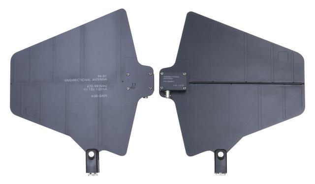 画像: 単一指向性の外部アンテナ(2枚1組/マイクスタンド取付可)、BNCケーブル3m×2本付属 ※今後発売予定