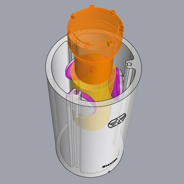 画像: 本体内のカプセルや基板は、衝撃吸収素材を使った柱状のショックマウントでボディとアイソレートしている