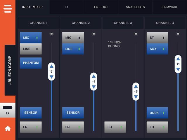 画像: 「JBL Compact Connect」アプリの操作画面