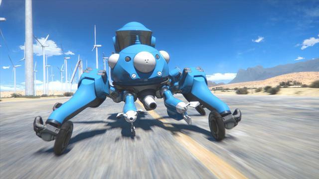 画像: 「攻殻機動隊」シリーズに登場する架空の兵器で、汎用型AIを搭載する多脚戦車タチコマ。リアリスティックな3DCGアニメで描かれている