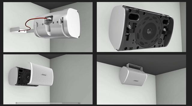 """画像: 写真②:露出型を設置する場合は、専用の『クイックホールドUブラケット』と呼ばれるアタッチメントを壁に取り付け、その上にスピーカー本体を差し込む。あとは必要に応じて垂直方向の角度を調整し、""""QuickHold""""レバーをロックすれば、スピーカーはしっかり固定されて設置は完了"""