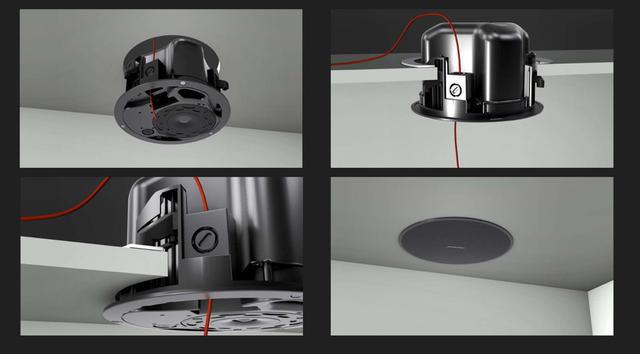 画像: 写真①:「Bose」独自の『クイックホールド取り付け機構』。スピーカーを天井の開口部に押し込めば仮ホールドされるので、あとは取り付けアームで回し締めて固定するだけ。片手にスピーカー、もう一方の手にドライバーを持つ必要がなく、両手で素早く確実にスピーカーを設置することができる