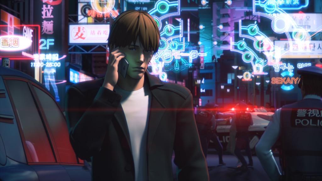 画像: 主要キャラクターのトグサ。様々な音が鳴る市街地のワンシーン