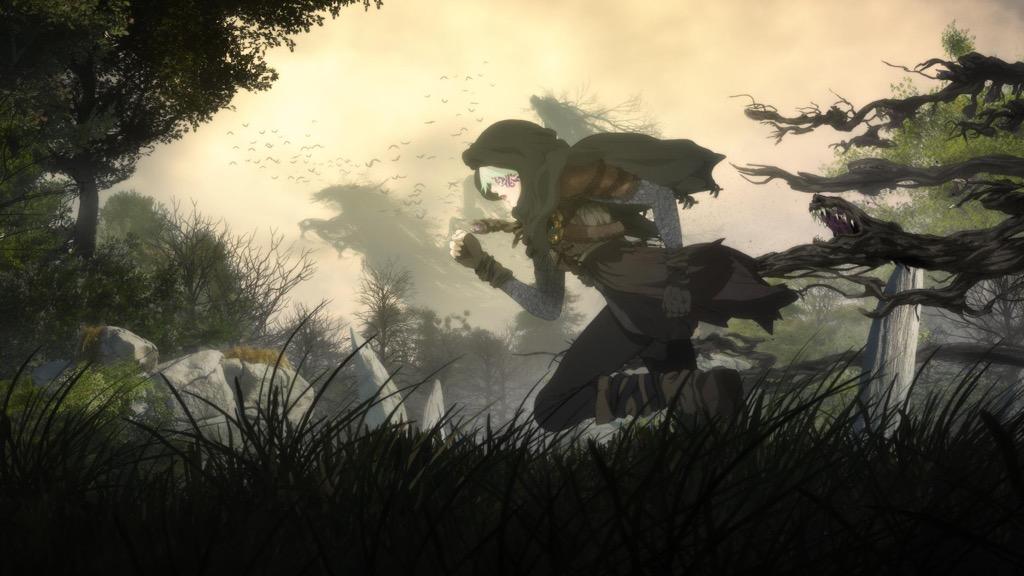 画像: Netflix オリジナルアニメ『Sol Levante』。辿り着いた者の望みを叶えると言い伝えられる「聖地」を探して、ソワフとオブリヴィオンは遺跡を暴きながら旅をしていた。ある時「遺跡の守護者」と「聖地の四大精霊」の怒りに触れてしまった2人は次第に追い詰められて行き……
