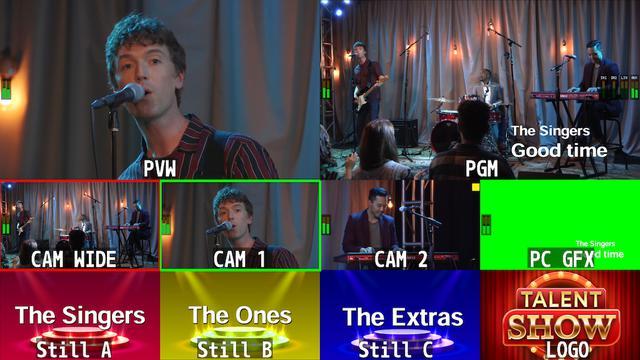 画像: マルチビュー表示/10画面(メイン映像+4つの映像+プリセット映像+4つの静止画)