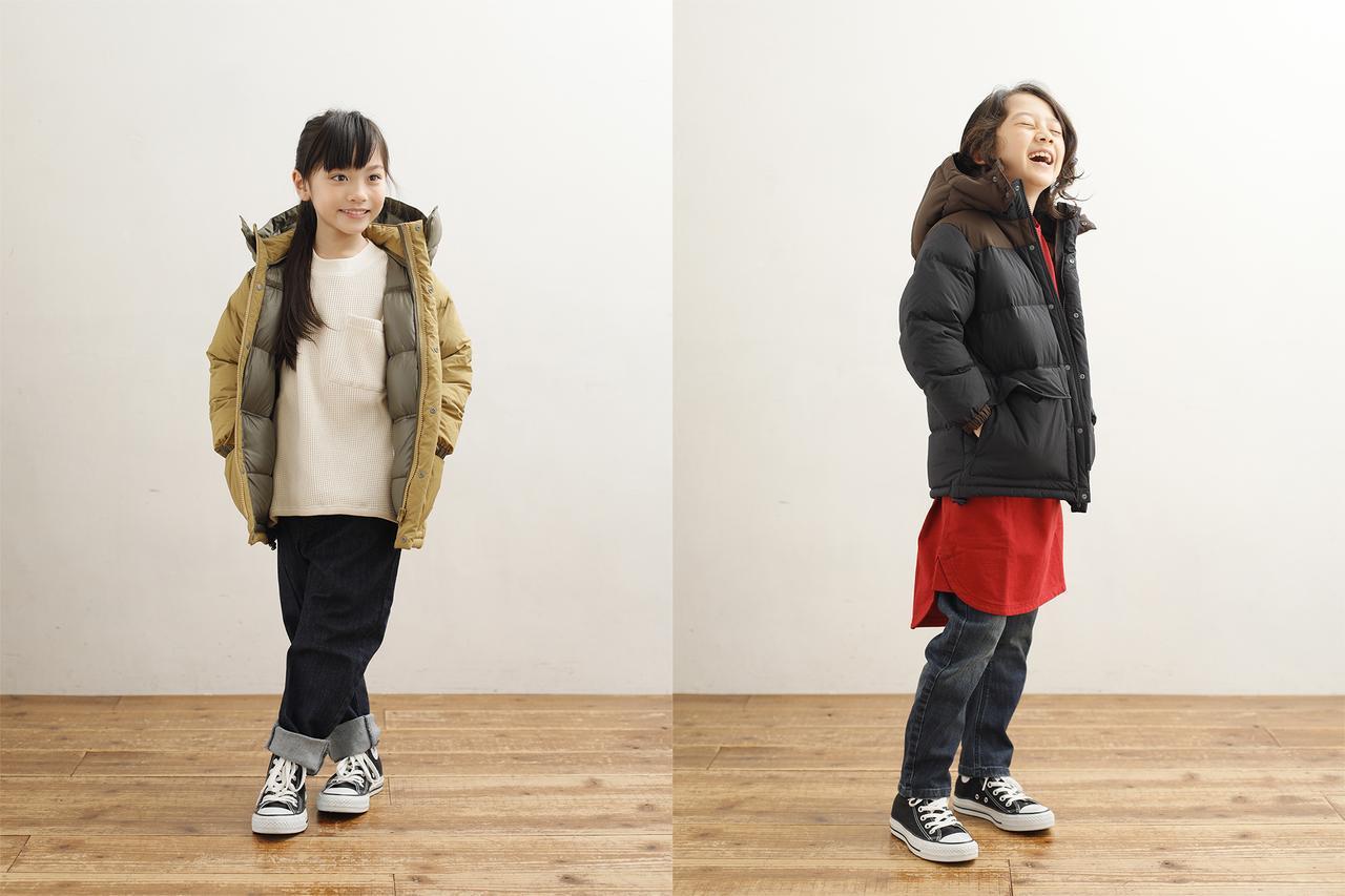 画像: 共通アイテムダウンジャケット2万1060円、デニムパンツ7344円、(左)女の子インナーワッフルプルオーバー6264円/男の子インナーフォルムロングTシャツ7344円