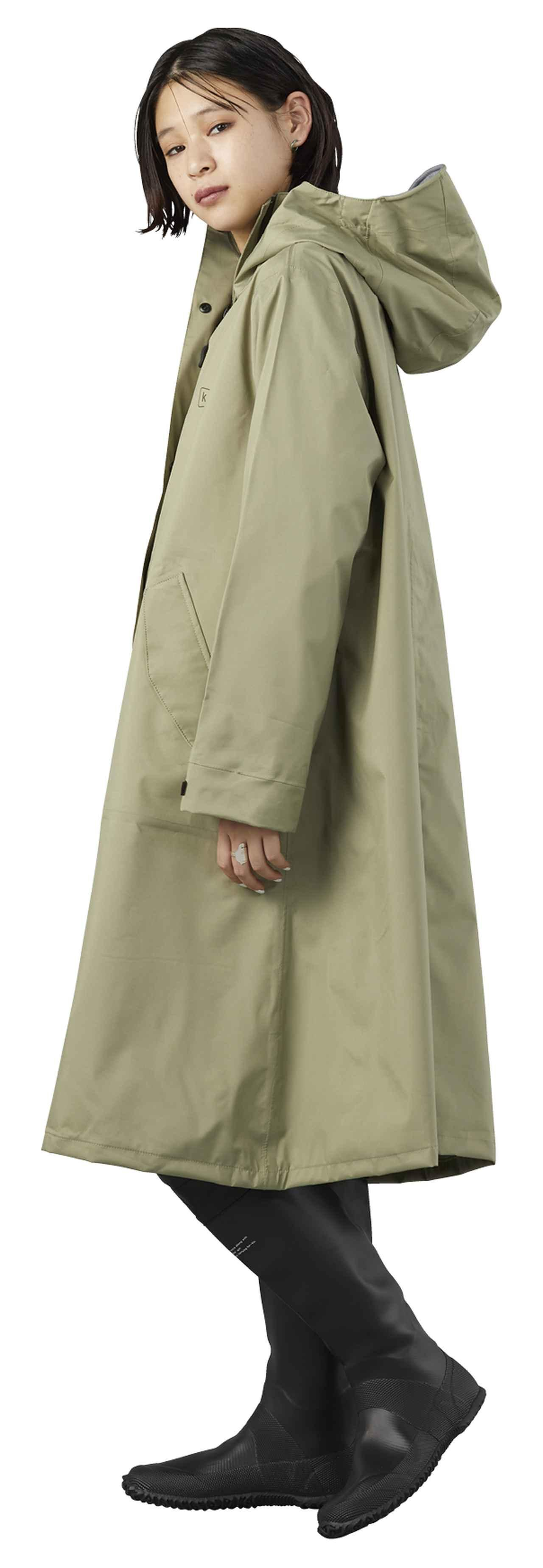 画像: ポンチョはファスナー部分に前立てを付けて浸水防止を高めている 3 KiUレインコート〈マイティー〉カーキ 9,200円