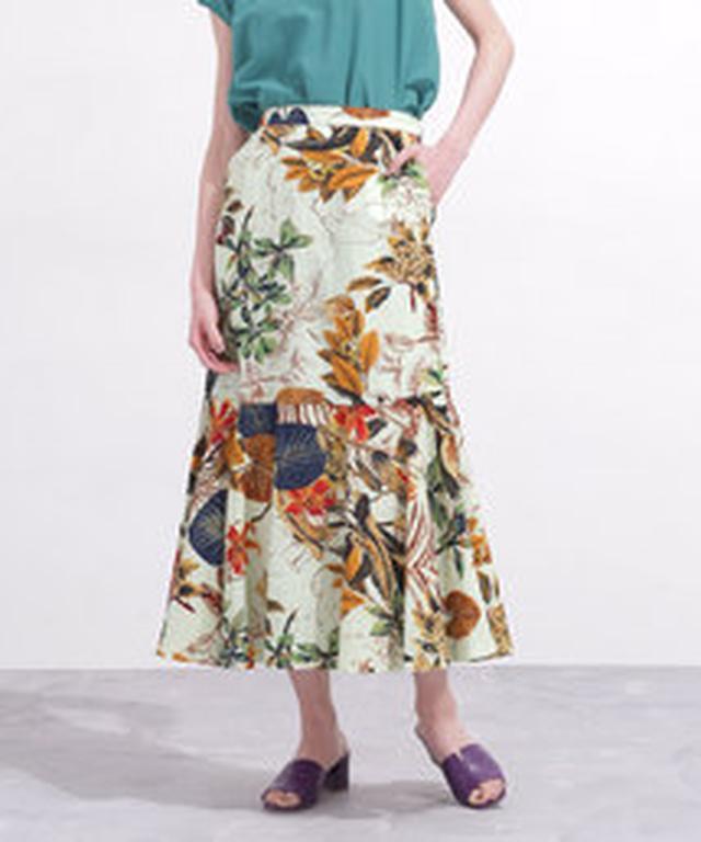 画像1: リゾートプリント&ちょいデザインスカート