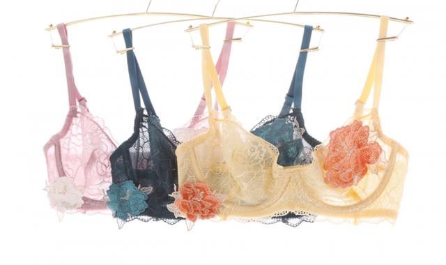 """画像2: パッドレスで盛らずに美胸。バスト本来の美しいシルエットを表現する """"ノンパテッドブラジャー""""『Bella Notte シアーモチーフ ブラセット』発売"""