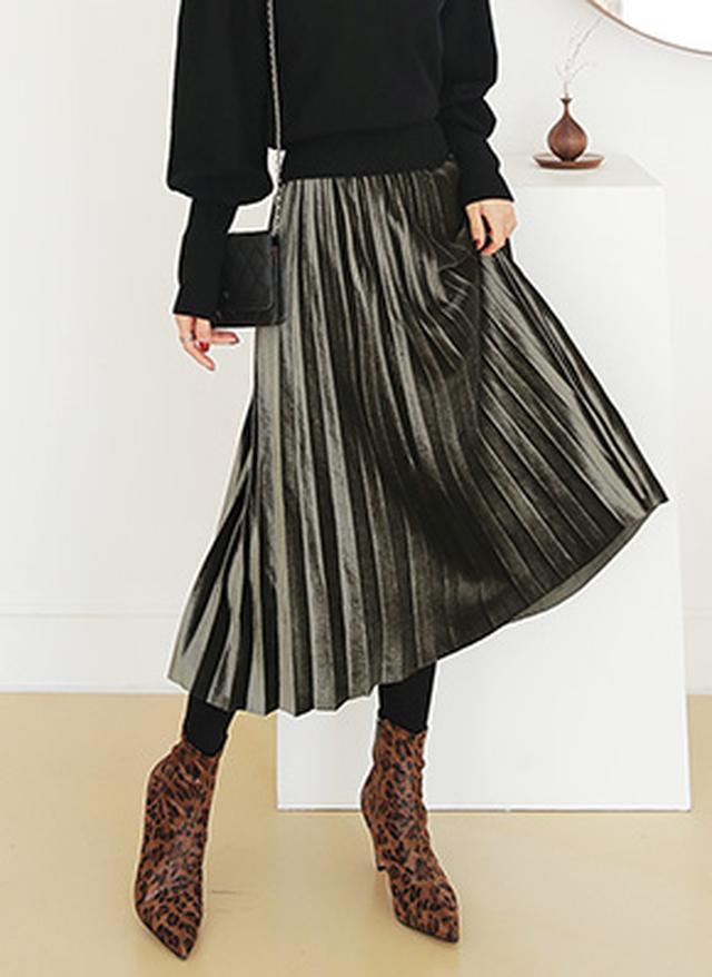 画像: [DHOLIC] ウエストゴムベロアプリーツスカート・全4色|レディースファッション通販 DHOLICディーホリック [ファストファッション 水着 ワンピース]