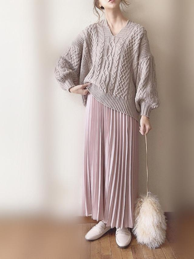 画像: ケーブルニット×プリーツスカート