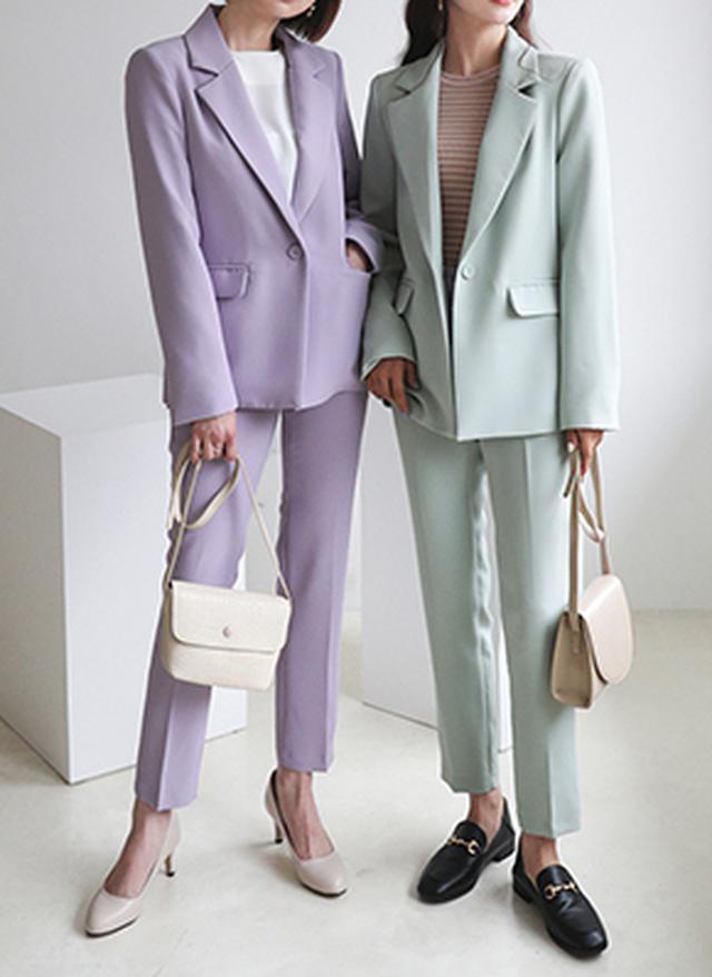画像: [DHOLIC] ワンボタンジャケット&スラックスSET・全5色パンツ・ズボンパンツ・ズボン|レディースファッション通販 DHOLICディーホリック [ファストファッション 水着 ワンピース]
