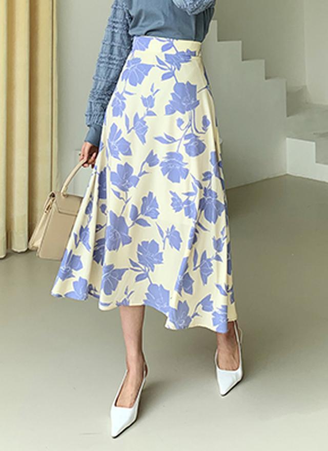 画像: [DHOLIC] フレアフローラルスカート・全2色スカートスカート|レディースファッション通販 DHOLICディーホリック [ファストファッション 水着 ワンピース]