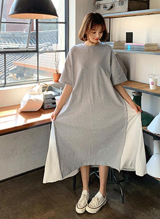画像: [DHOLIC] サイドプリーツ配色ワンピース・全2色ドレス・ワンピ|レディースファッション通販 DHOLICディーホリック [ファストファッション 水着 ワンピース]